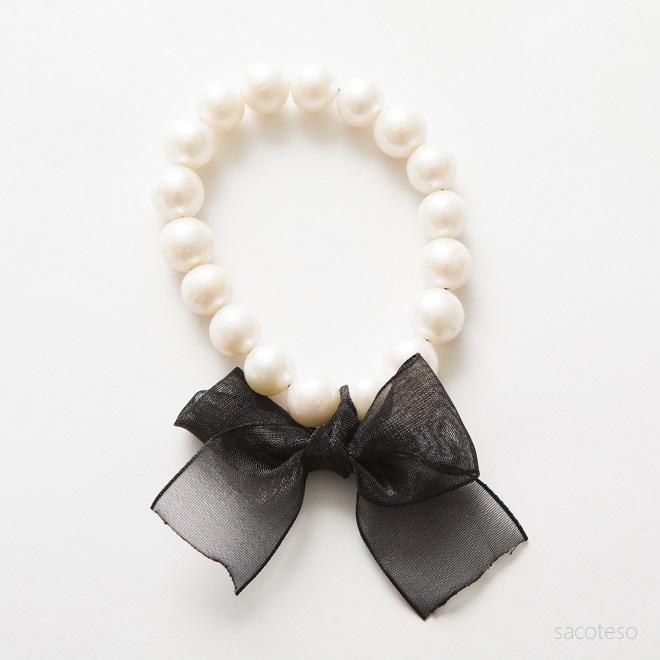 パール(真珠)×リボン ブレスレット