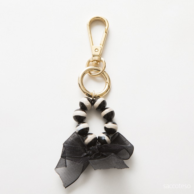 ブラック&ホワイトアゲート×リボン キーホルダー