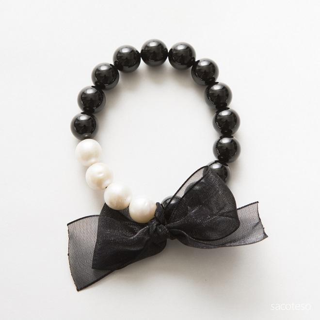 ブラックトルマリン+パール(真珠)×リボン ブレスレット